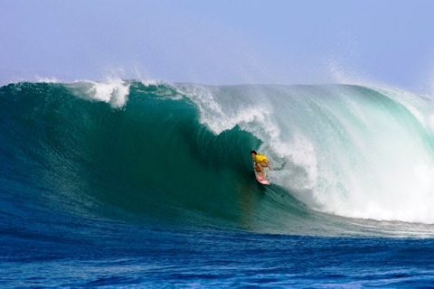Samantha Cornish (AUS), 29, was a standout yesterday at Honolua Bay. photo: ASP/ CI/ SCHOLTZ via GETTY IMAGES