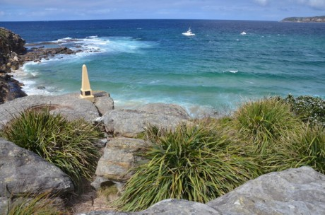 North Curl Curl plane crash site about 100m to the right of the whitewater on the point