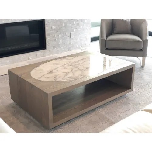 solid white oak coffee table with inset