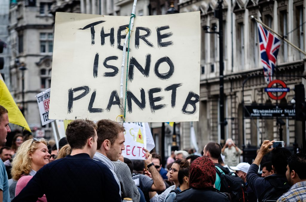 """Placard reads """"There is no planet B"""""""
