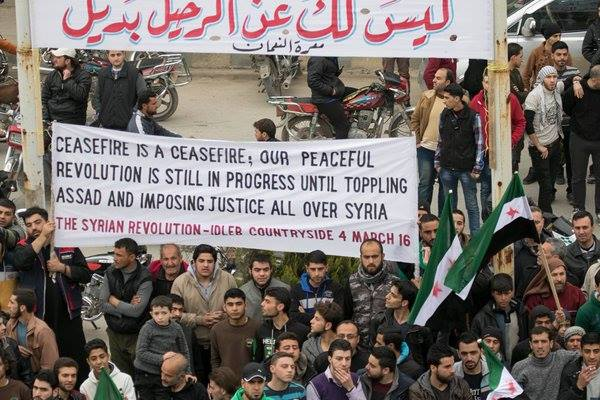 Banner from the town of Kafranbel in Idlib