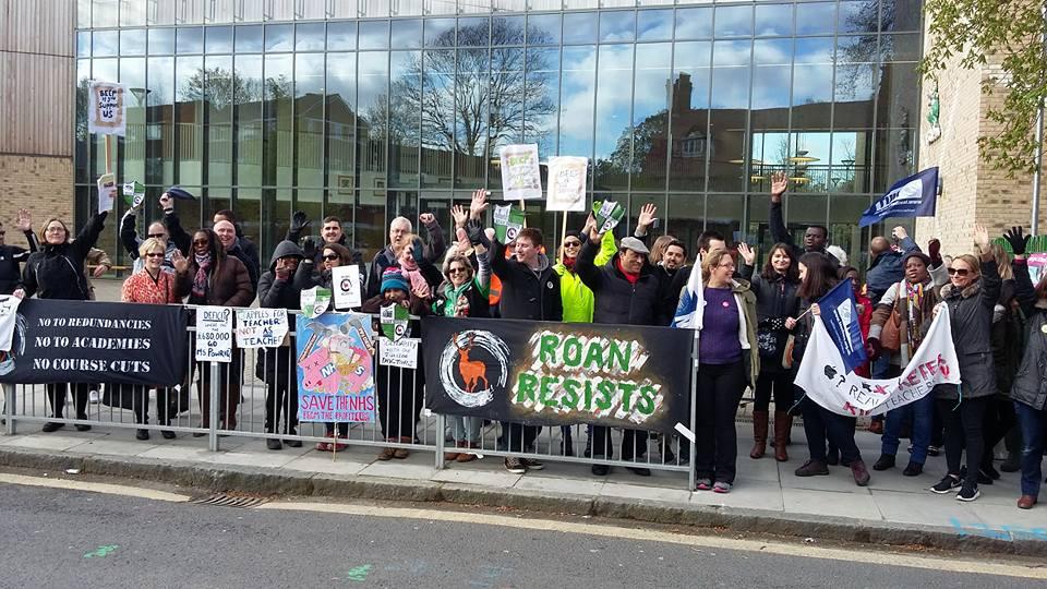Picket line at John Roan school, Greenwich, London