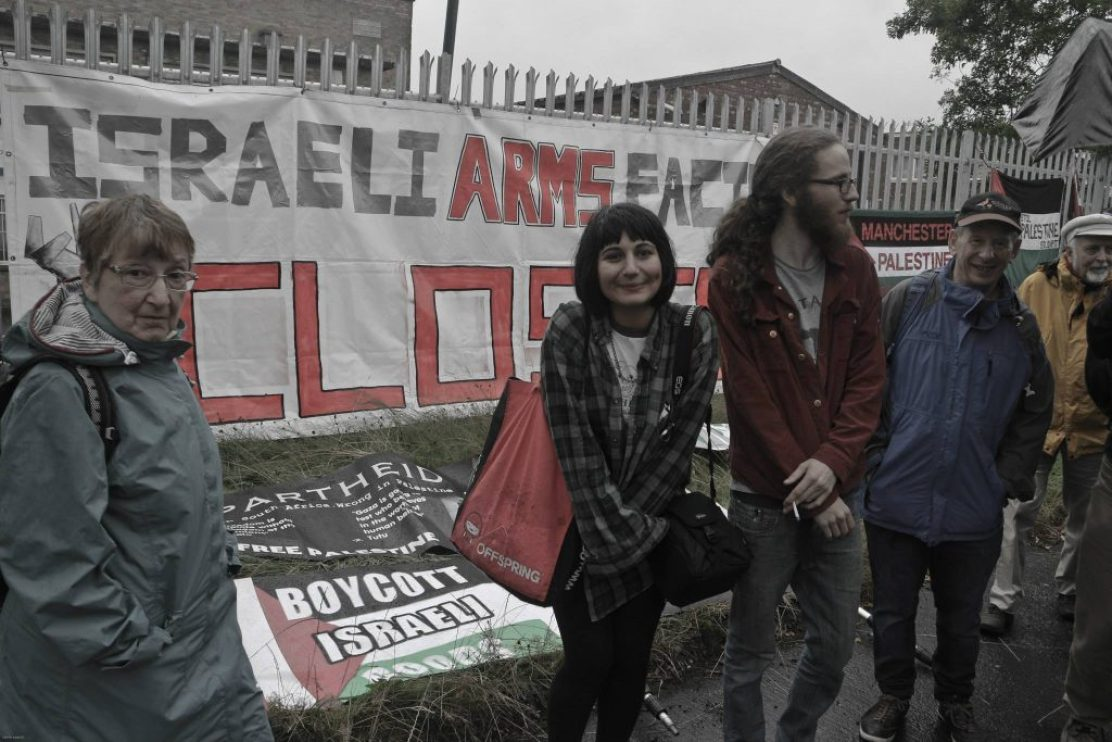 Sherrl protesting at the Elbit arms factory in 2015 (Photo: Steve Eason)