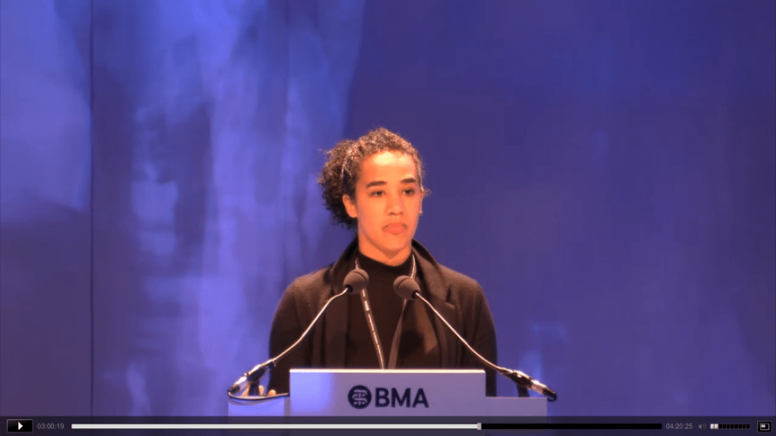 Dr Megan Parsons speaking on the motion at the BMA conference - click and skip to 03:00:00 to listen to her speech