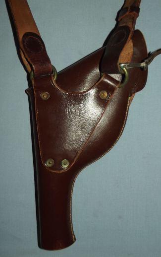Vintage Police Brown Leather Revolver Holster and Shoulder Strap 2