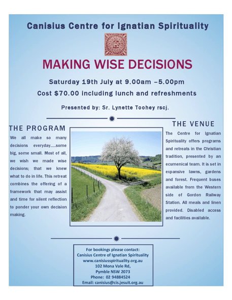 poster for retreat. Tel 02 94884524 for information.