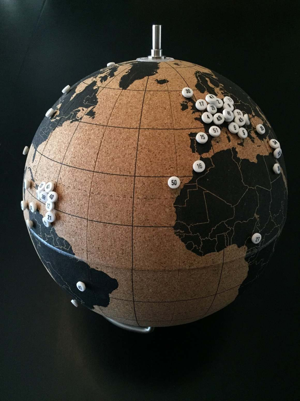 globe with pins