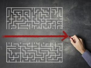 A red arrow cuts straight through a maze