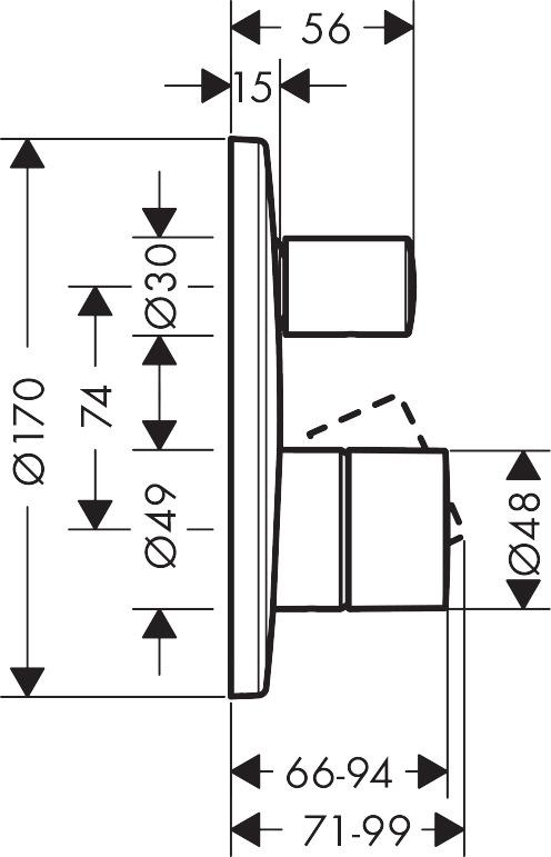 axor hansgrohe uno zero handle concealed manual shower valve