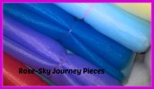 Tulle material in rainbow colours for one of our makes. Photography copyright of Rose-Sky Journey Pieces.