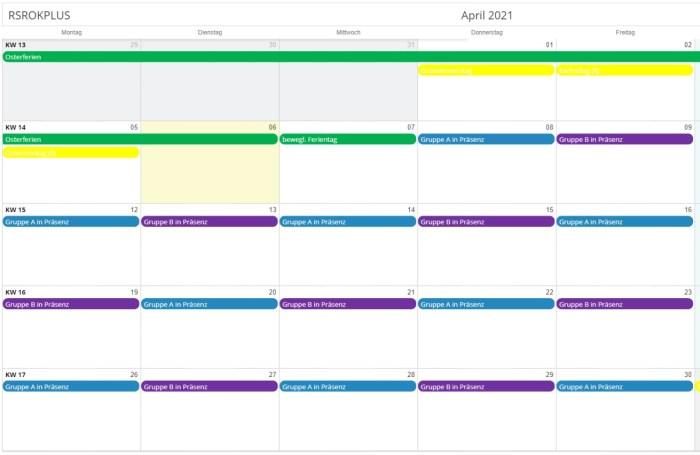 Wechselunterricht April