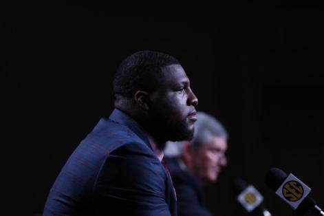 Alabama defensive lineman Phidarian Mathis takes questions at SEC Media Days. (Jimmie Mitchell / SEC)
