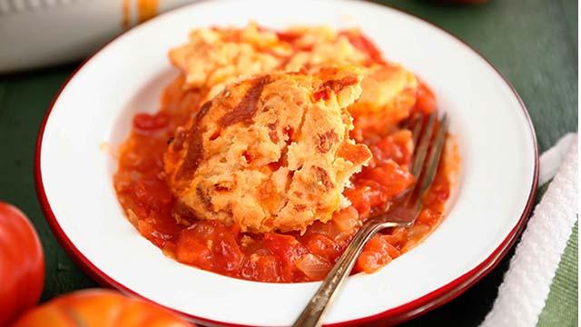 Recipe: Tomato Cobbler with Pimento Cheese Biscuits