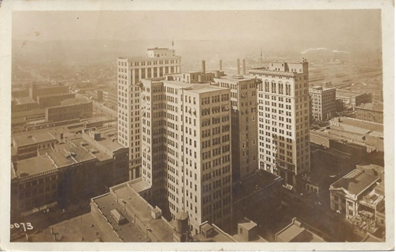 A postcard shows what became known as 'the heaviest corner on earth' at First Avenue North and 20th Street in downtown Birmingham. (Randy Merritt collection)