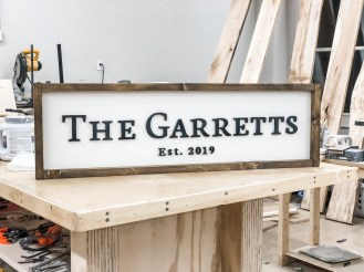 A family sign Garrett created celebrating his marriage. (contributed)