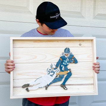 Nick Garrett made a Derrick Henry stiff arm woodcutting that he sent to to the Titans earlier this year. (contributed)