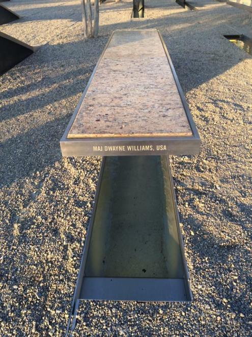 A bench at the Pentagon Memorial honors Maj. Dwayne Williams. (contributed)