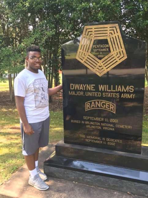 Royce Williams, son of Roy, visits his uncle Dwayne's memorial in Jacksonville. In Roy's last conversation with Dwayne, three days before Dwayne's death, Roy told his brother that the baby Roy and his wife were expecting was a boy. (contributed)