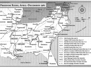 A map shows the bus routes for the 1961 Freedom Rides. (contributed)