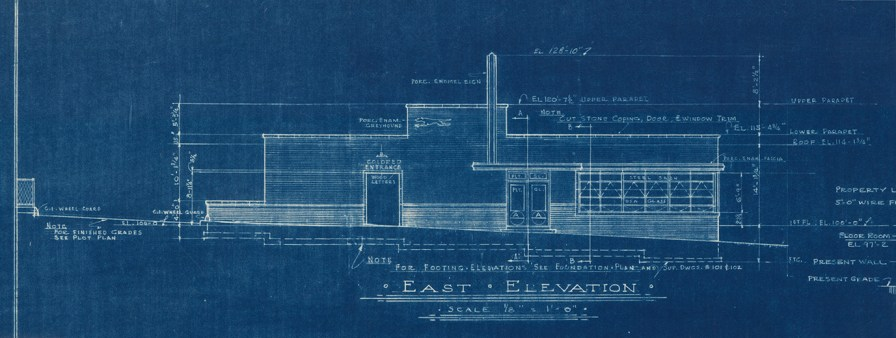"""Blueprints for Montgomery's Greyhound Bus Station, """"designed to be different, to separate people."""" (Alabama Historical Commission)"""