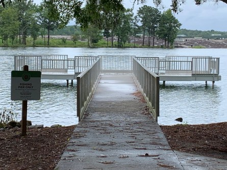 The fishing pier at Flat Rock Park on Lake Harris is compliant with the Americans with Disabilities Act. (Alabama NewsCenter Staff)