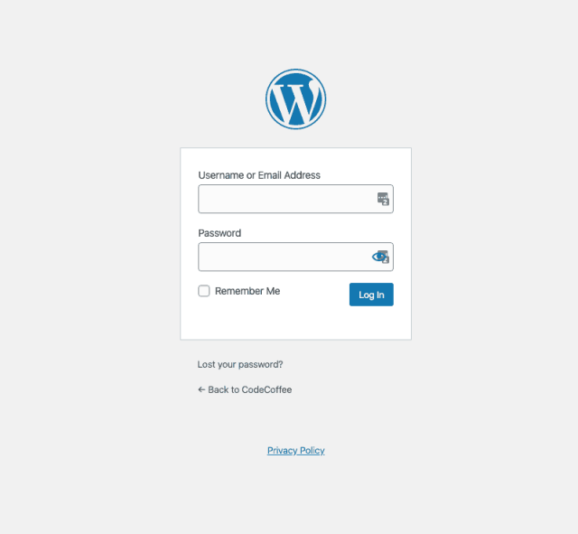 Wordpress Admin login screen
