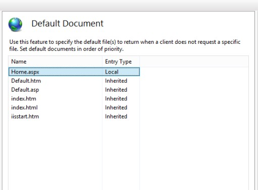 IIS default document 4
