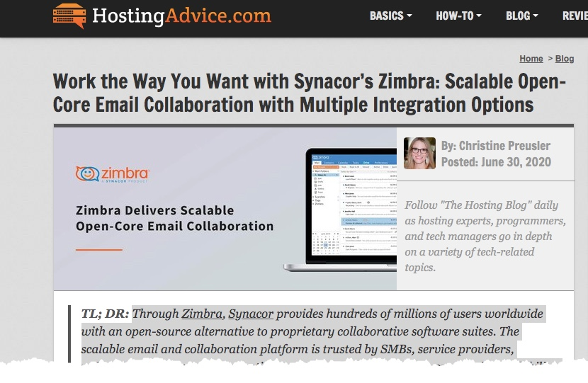 On hostingadvice.com: Work the Way You Want with Synacor's Zimbra