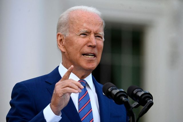 US President Joe Biden speaks during Independence Day celebrations on the South Lawn of the White House in Washington