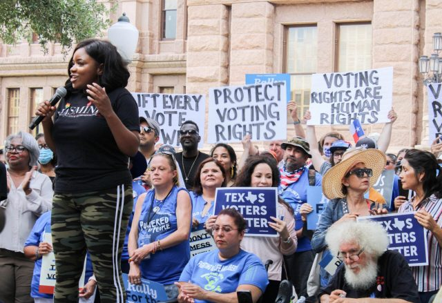 Rep. Jasmine Crockett addresses the crowd at the For The People Rally in front of the Texas Capitol building in Austin
