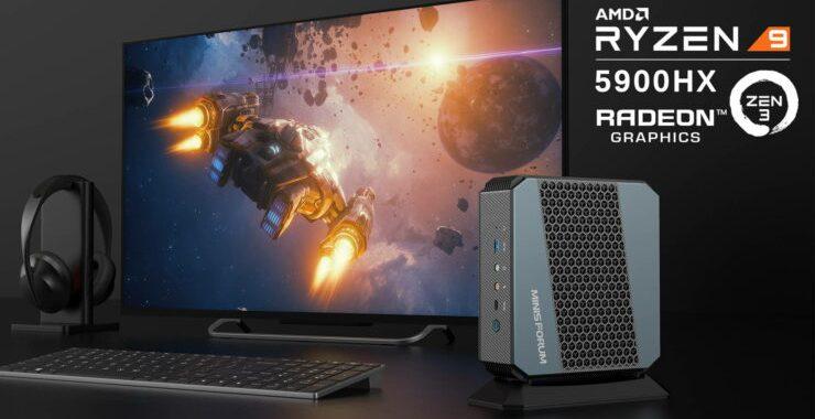 Minisforum EliteMini HX90 AMD Ryzen 9 5900HX CPU Powered SFF Mini PC 1 740x416 1