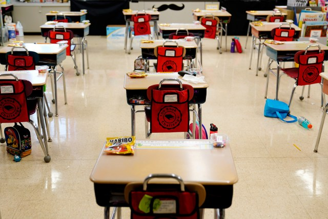 Desks are arranged in an elementary school in Nesquehoning