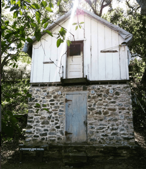 Ice house with a wee residence on top; California plant man Theodore Payne lived here.