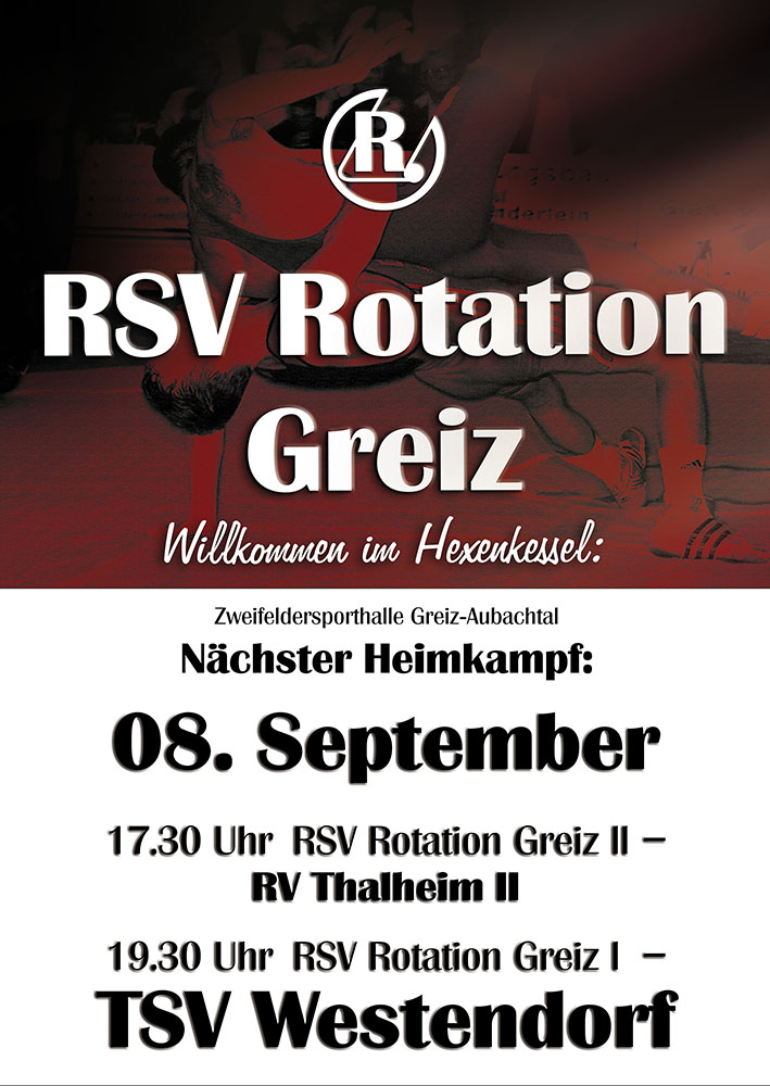 Plakat zum Kampf: RSV Rotation Greiz gegen TSV Westendorf