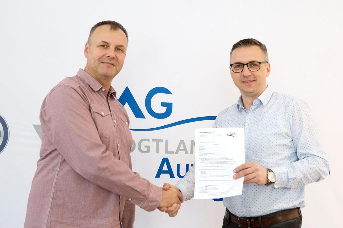 Neuer Sponsor des RSV Roation Greiz: Jens Bräunlich von Vogtland Automobile Greiz