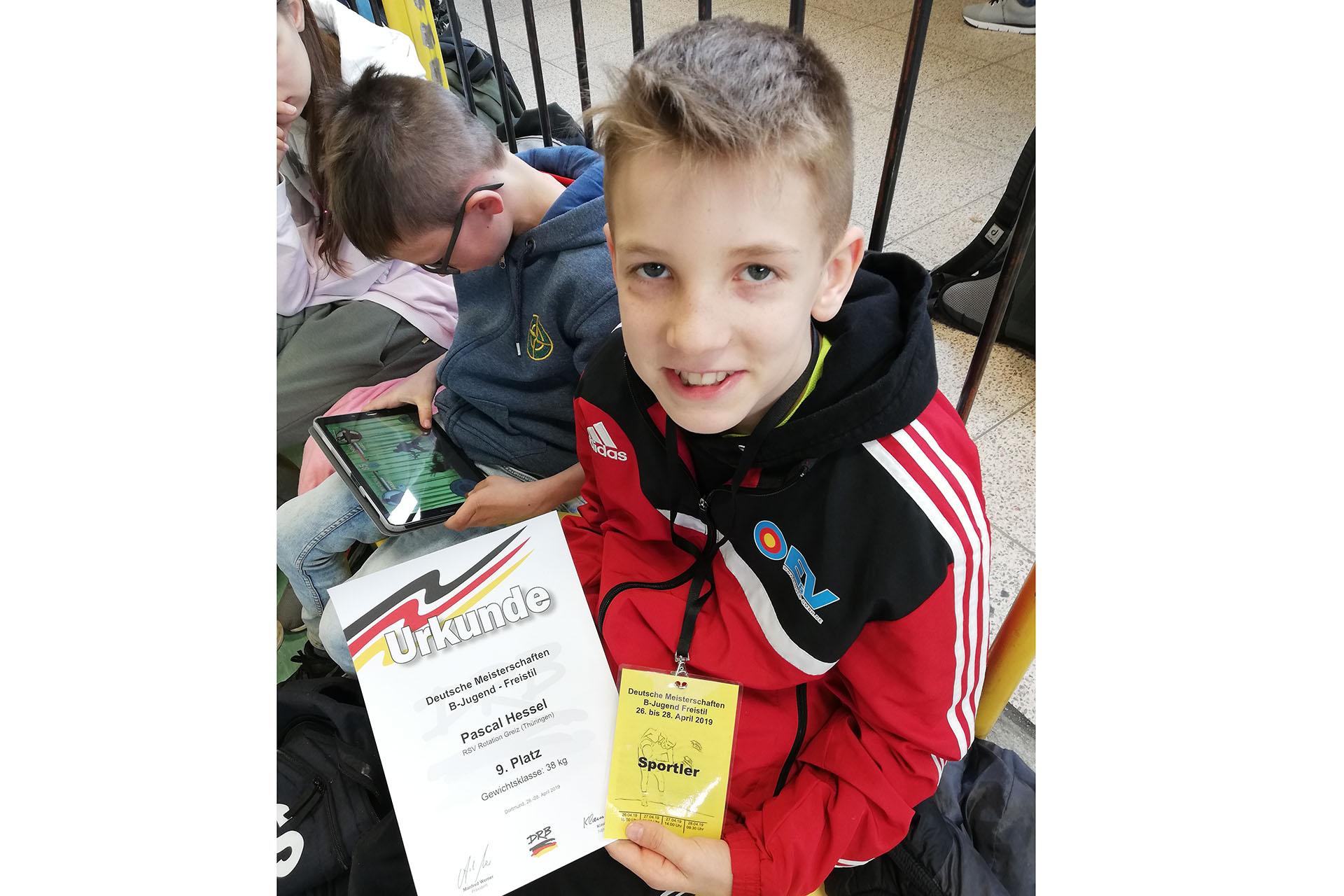 Pascal Hessel vom RSV Rotation Greiz belegte bei den deutschen Meisterschaften Rang neun.