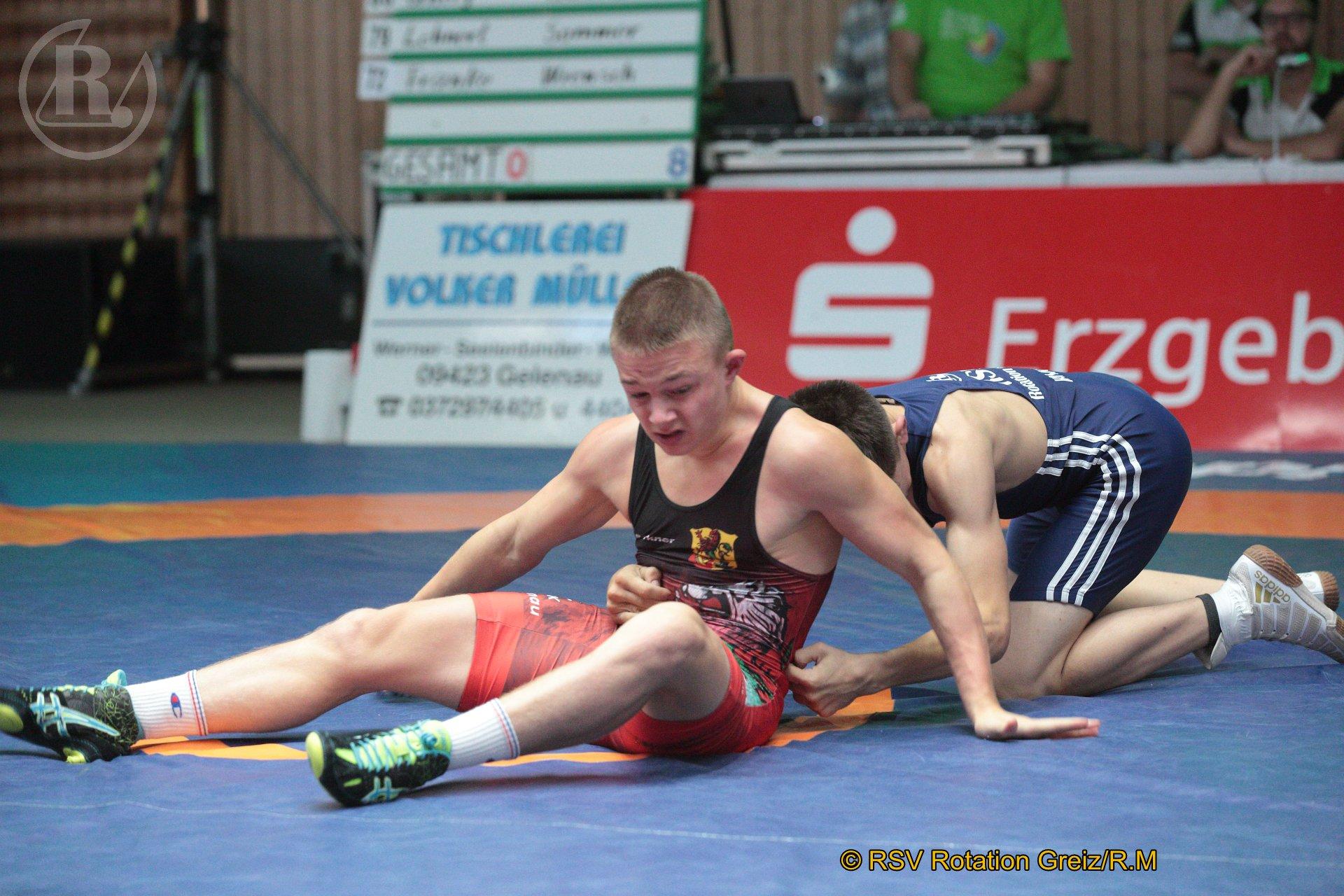 57 kg Greco: Schmalfuß, William, WKG Gelenau II/Chemnitz gegen Hanke, Lucas (blaues Trikot), RSV Rotation Greiz II - 4:0/UG/8:3/02:30