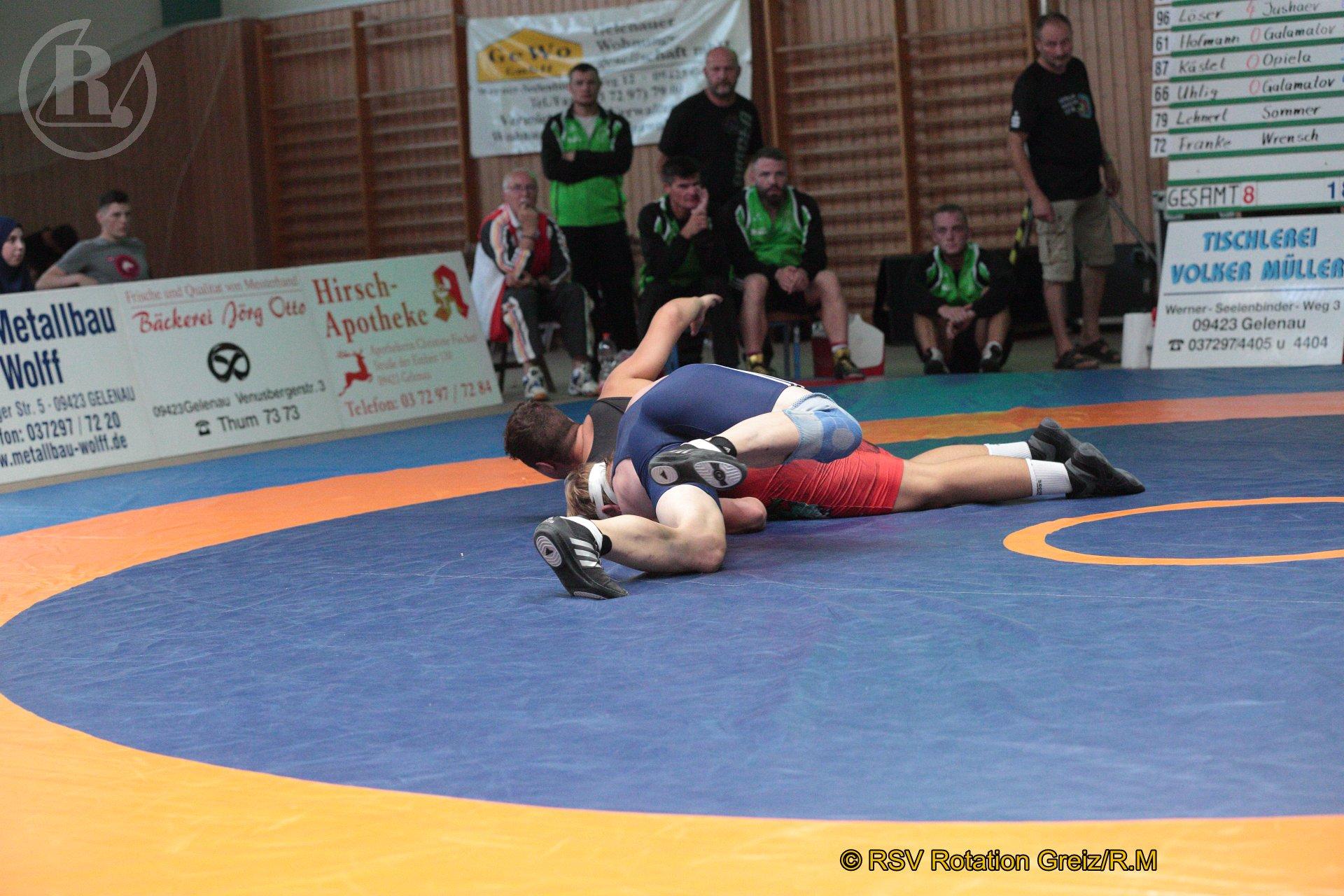 79 kg Greco: Lehnert, Moritz, WKG Gelenau II/Chemnitz gegen Sommer (blaues Trikot), Konstantin, RSV Rotation Greiz II - 0:1/PS/2:2/06:00
