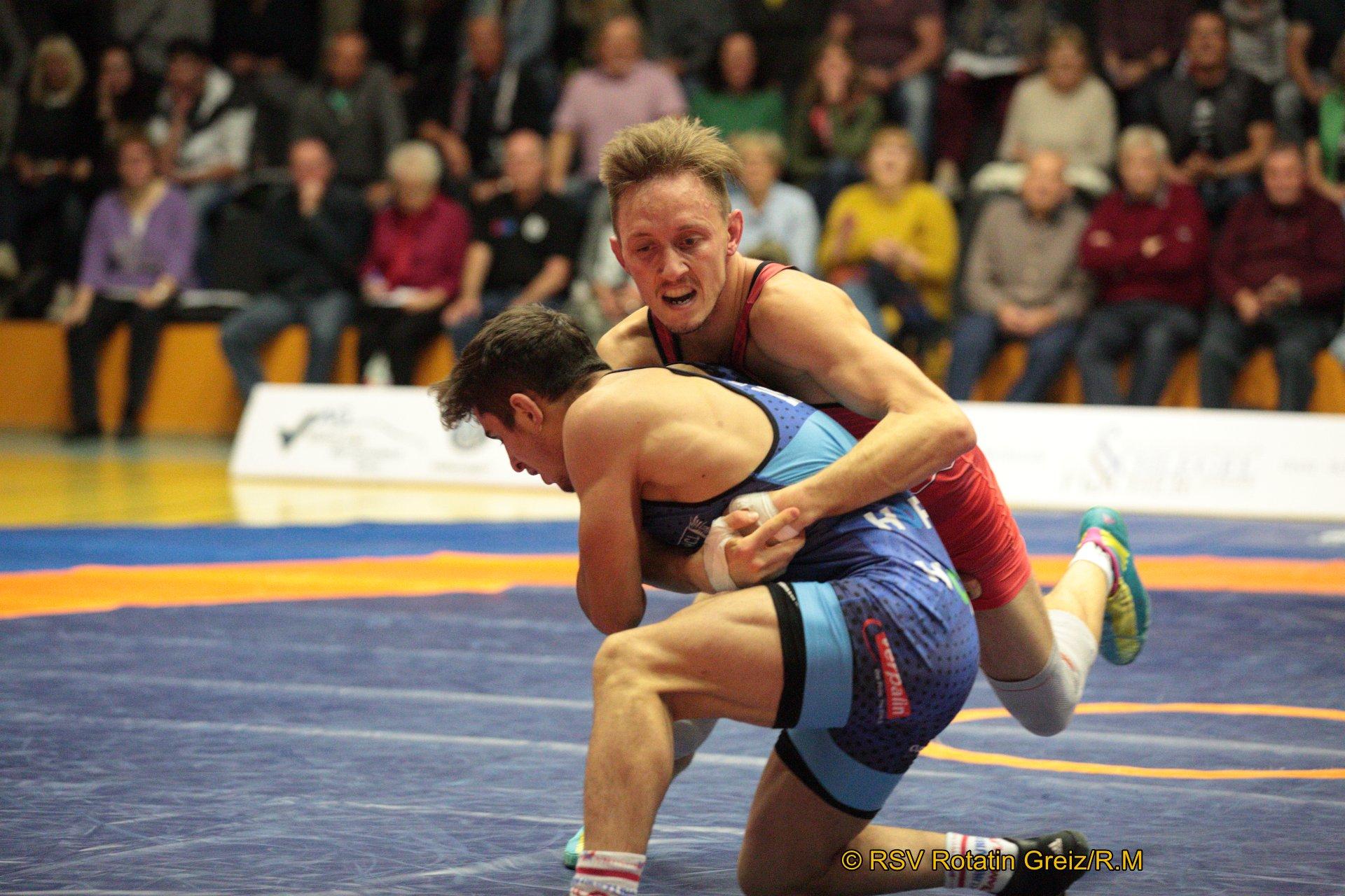 57kg Freistil: Sven Cammin (2) (rotes Trikot), RSV Rotation Greiz gegen Ahmet Duman EU (5), AC Lichtenfels 0:4/TÜ/4:19/03:52