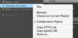 Spotify's collaborative playlist feature