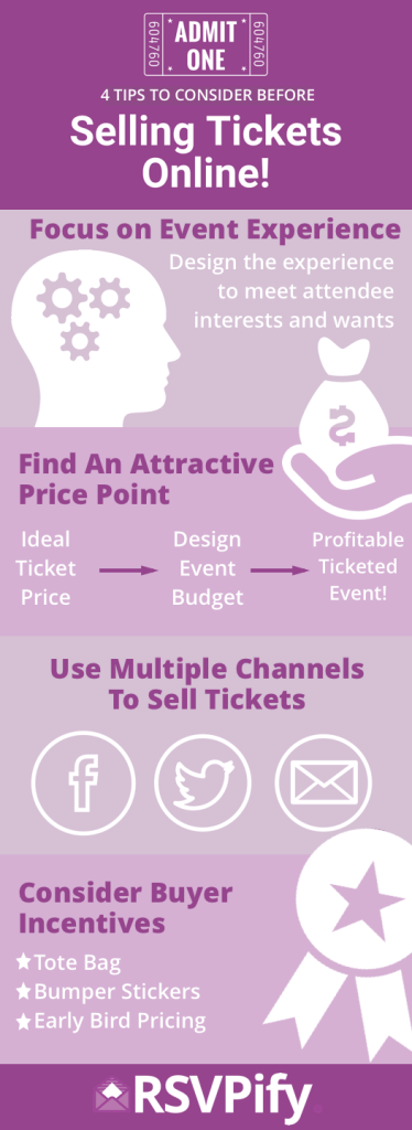 Infographic: How to sell tickets online, tip including a focus on your event's experience and buyer incentives.