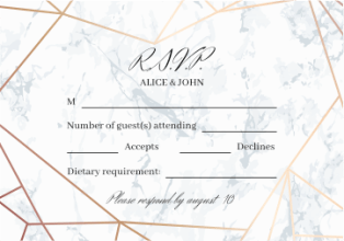 Marble paper RSVP card with formal wording