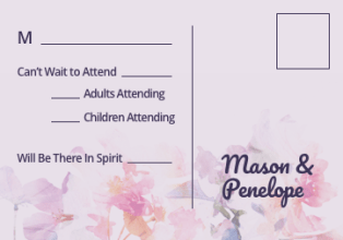 Purple Floral Paper RSVP Card with Contemporary Wording