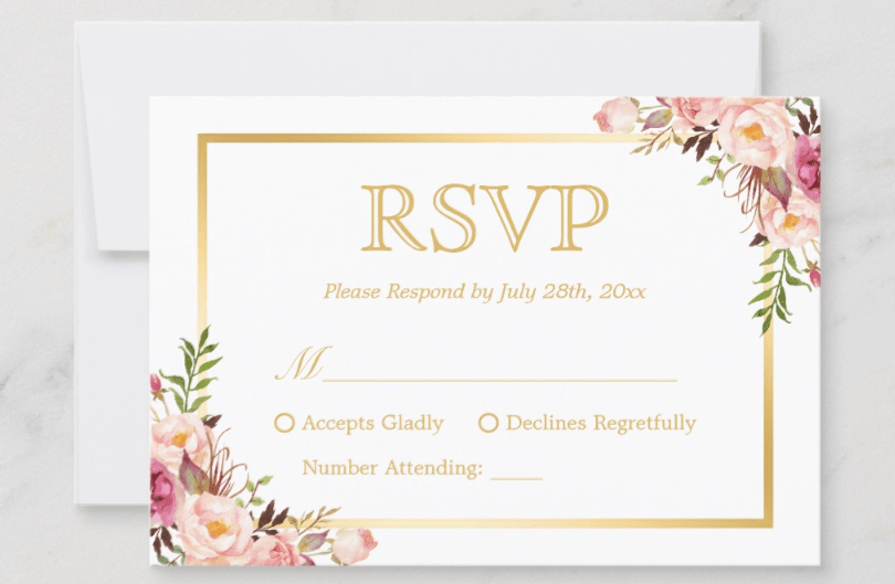 Pink Floral And Gold RSVP Card Example Gladly Accepts Regretfully Declines Number Attending