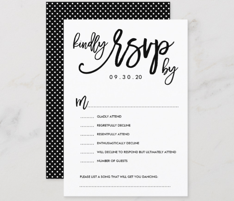 'Kindly RSVP By' Black and White Polka Dot RSVP Card. Multiple Accept/decline text options and song request.