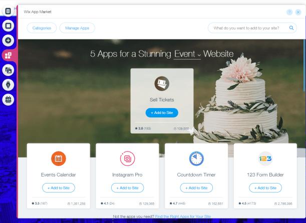 Apps for event website builder Wix