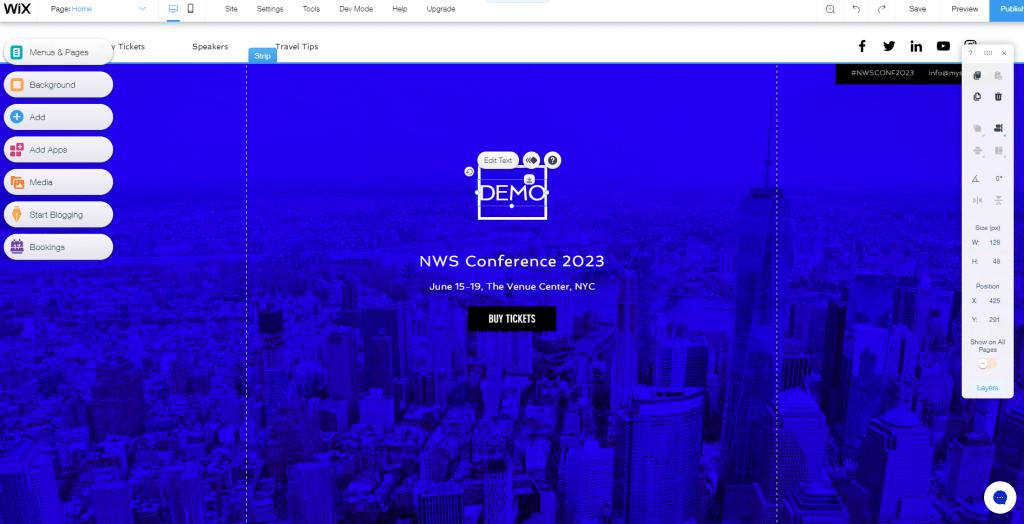Event website builder demo page
