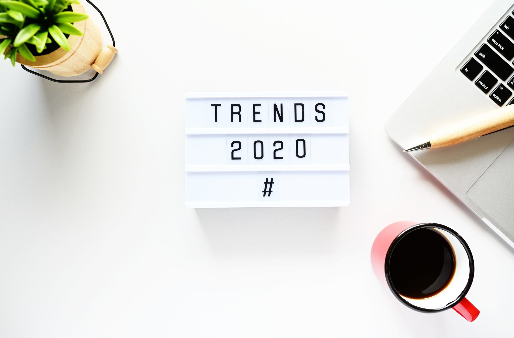 Sign that displays letters 'Trends 2020'