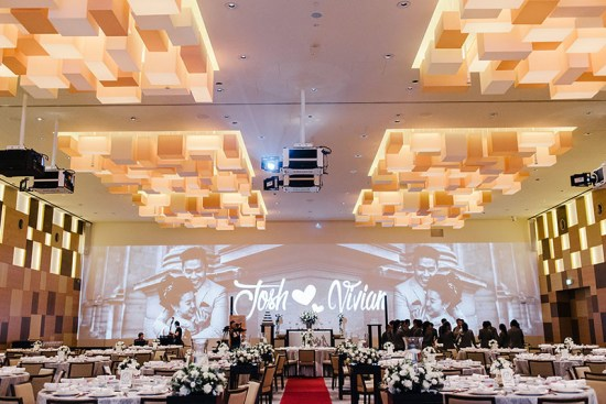 Grand Hyatt Singapore decorated ballroom with floral arrangements