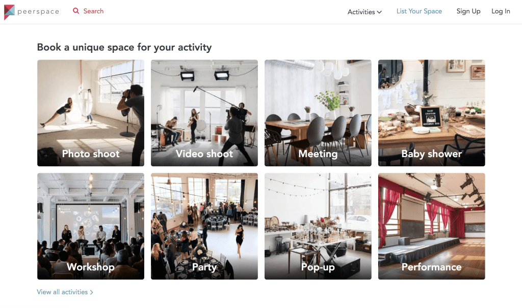 """Peerspace Venue Finder Tool. """"Book a unique space for your activity"""""""